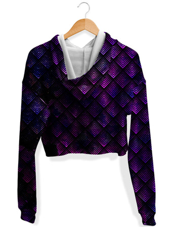 Noctum X Truth - Galactic Dragon Scale Purple Fleece Crop Hoodie