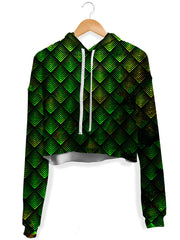 Galactic Dragon Scale Green Crop Hoodie