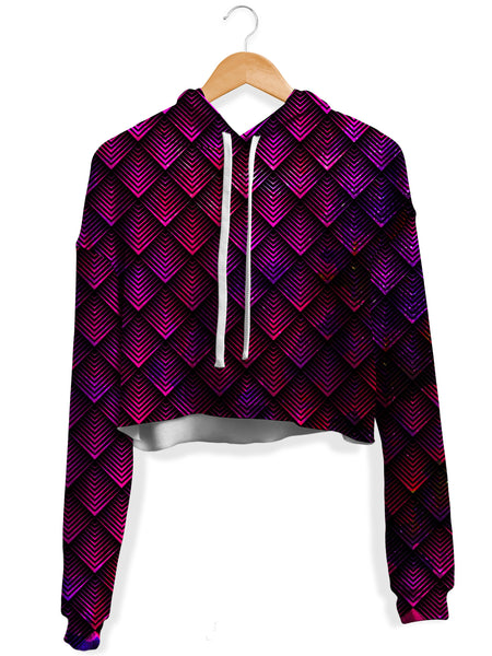 Noctum X Truth - Galactic Dragon Scale Pink Crop Hoodie