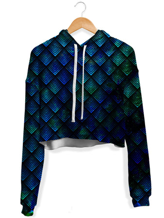 Noctum X Truth - Galactic Dragon Scale Teal Crop Hoodie