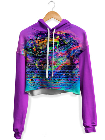 Psychedelic Pourhouse - Psychedelic Outrun Fleece Crop Hoodie