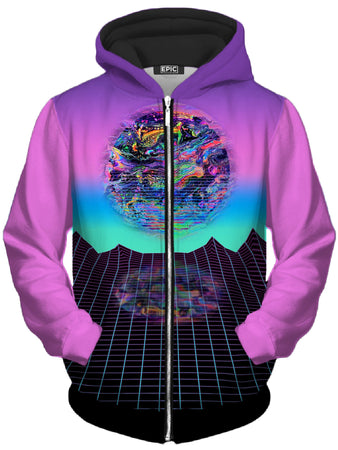 Psychedelic Pourhouse - Psychedelic Outrun Unisex Zip-Up Hoodie