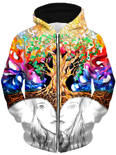 Rachel Rosenkoetter - Unzipped Self Portrait Unisex Zip-Up Hoodie