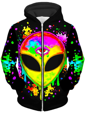 BrizBazaar - Splatter Alien Yellow Unisex Zip-Up Hoodie