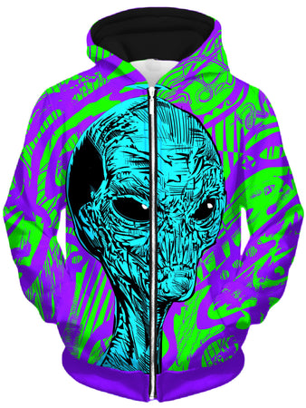 Technodrome - Alien Unisex Zip-Up Hoodie