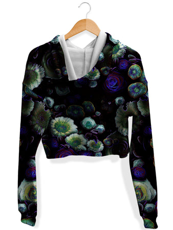 Yantrart Design - Dark Bloom Fleece Crop Hoodie