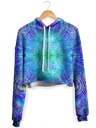 Yantrart Design - Blue Psycho Cosmos Fleece Crop Hoodie