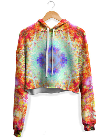 Yantrart Design - Cosmic Universe Fleece Crop Hoodie