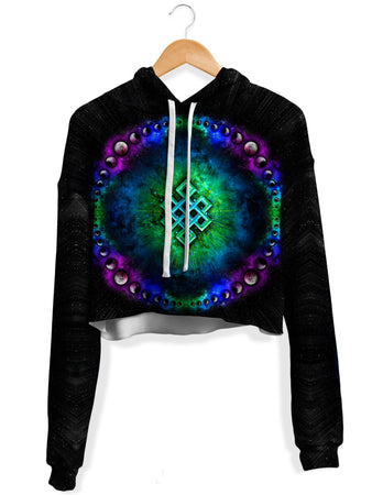Yantrart Design - Endless Cosmos Fleece Crop Hoodie