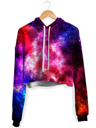 Yantrart Design - Galaxy Vibe Fleece Crop Hoodie