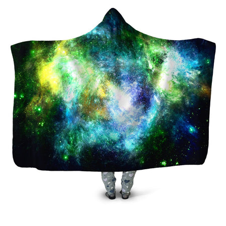 Yantrart Design - Green Psychedelic Nebula Hooded Blanket