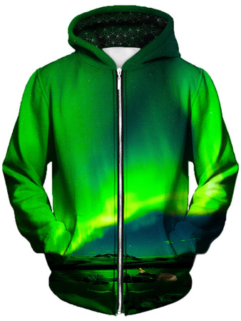 Gratefully Dyed Damen - Borealis Unisex Zip-Up Hoodie