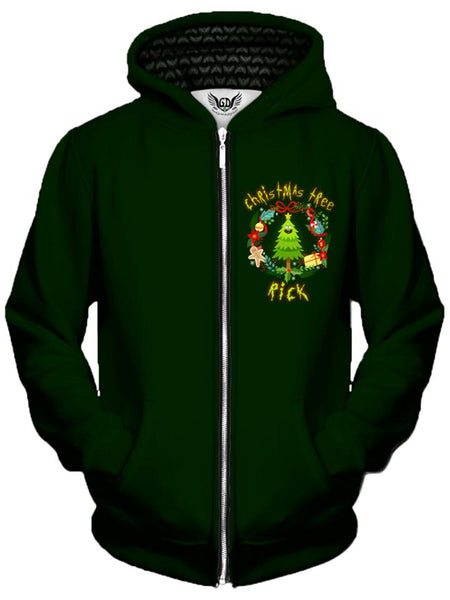Gratefully Dyed Damen - Christmas Tree Rick Unisex Zip-Up Hoodie