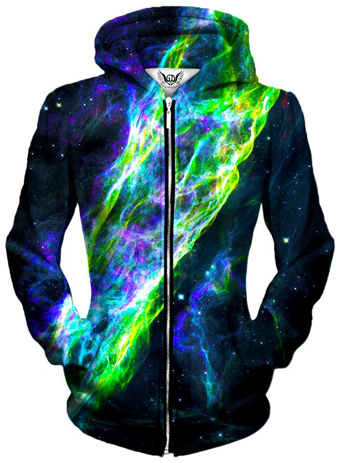 Electric Wave Unisex Zip-Up Hoodie, Gratefully Dyed Damen, T6 - Epic Hoodie