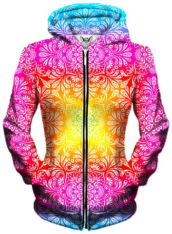 Gratefully Dyed Damen - Florally Unisex Zip-Up Hoodie