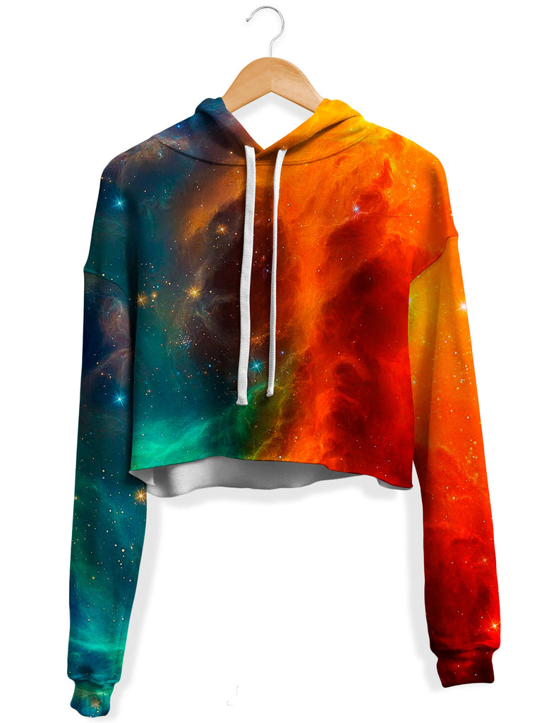 iEDM - Fire and Ice Galaxy Fleece Crop Hoodie