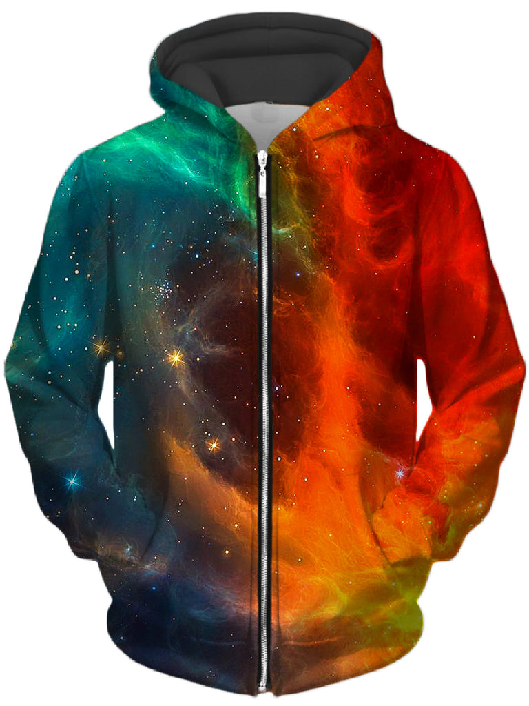 iEDM - Fire and Ice Galaxy Unisex Zip-Up Hoodie