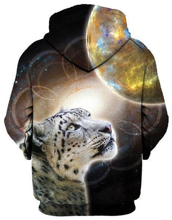 Gratefully Dyed Damen - Sky Leopard Unisex Zip-Up Hoodie