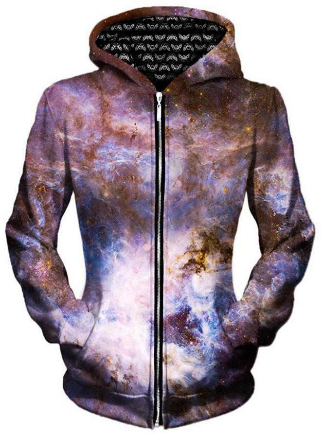 Interstellar Connection Unisex Zip-Up Hoodie, Gratefully Dyed Damen, T6 - Epic Hoodie