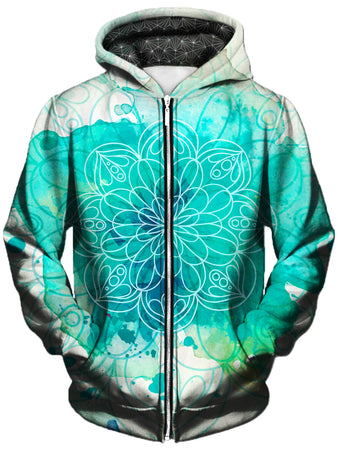 Gratefully Dyed Damen - Mandala Splotches Unisex Zip-Up Hoodie