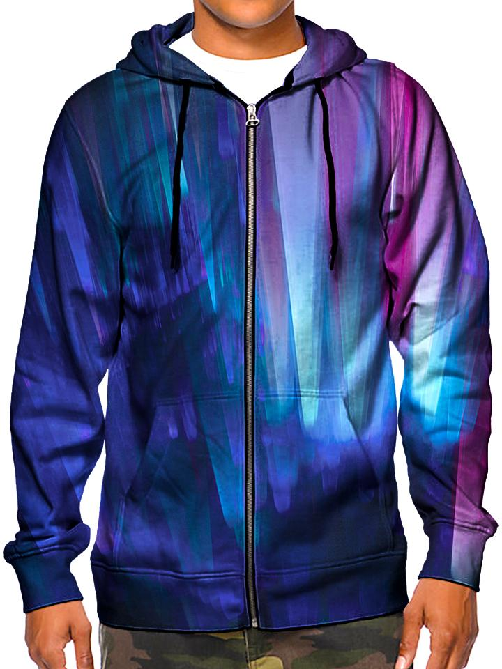 Northern Lights Unisex Zip-Up Hoodie, Gratefully Dyed Damen, T6 - Epic Hoodie