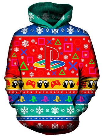 On Cue Apparel - Playstation Christmas Hoodie