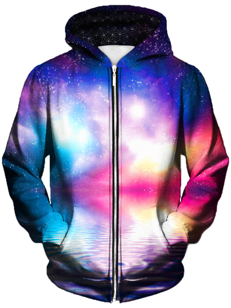 Gratefully Dyed Damen - Ripple in Space Unisex Zip-Up Hoodie