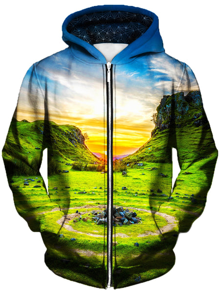 Gratefully Dyed Damen - Serenity Unisex Zip-Up Hoodie