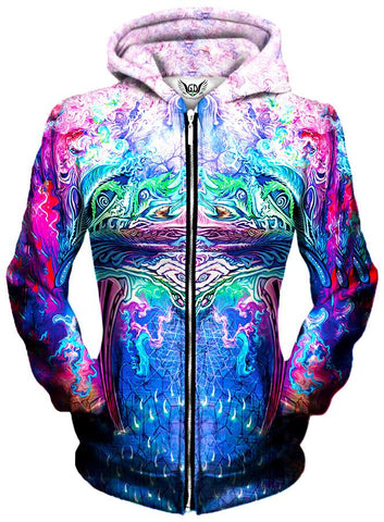 Gratefully Dyed Damen - Symetricity Unisex Zip-Up Hoodie