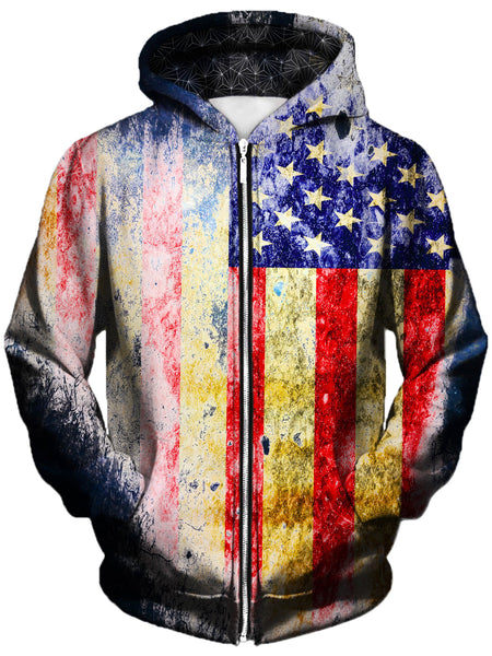 Gratefully Dyed Damen - Tattered Flag Unisex Zip-Up Hoodie