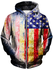 Tattered Flag Unisex Zip-Up Hoodie