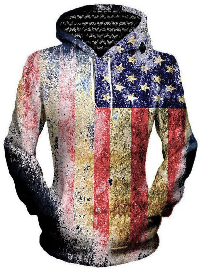 Tattered Flag Unisex Hoodie, Different Type, Gratefully Dyed Damen - Epic Hoodie
