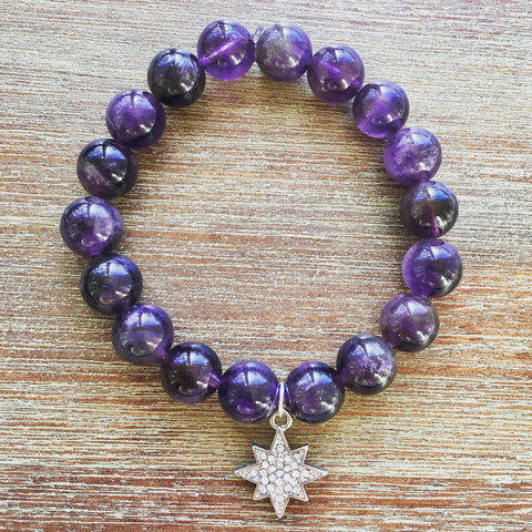 Amethyst Healing and Guidance North Star Gemstone Bracelet