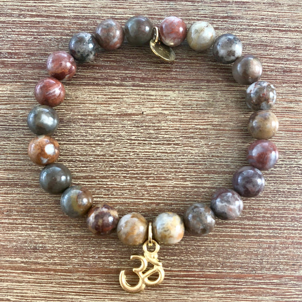 Gold Ohm Mala with Bamboo Agate