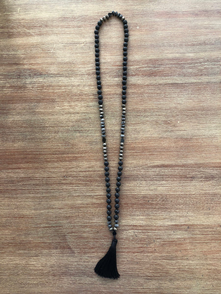 Earth Fire Mala with Black Lava & Pyrite
