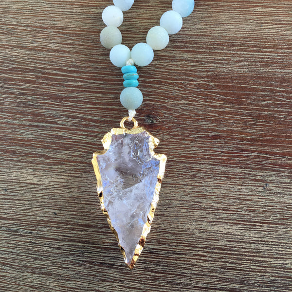 Clear Quartz Arrowhead with Amazonite & Turquoise