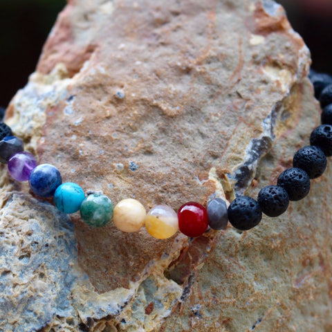 Men's 7 Chakra Gemstones & Lava Rock Wrist Mala
