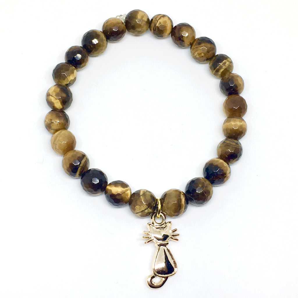 Gold Cat Mala with Faceted Tiger's Eye