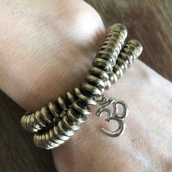 Mixed Metal Wrap Bracelet with Ohm