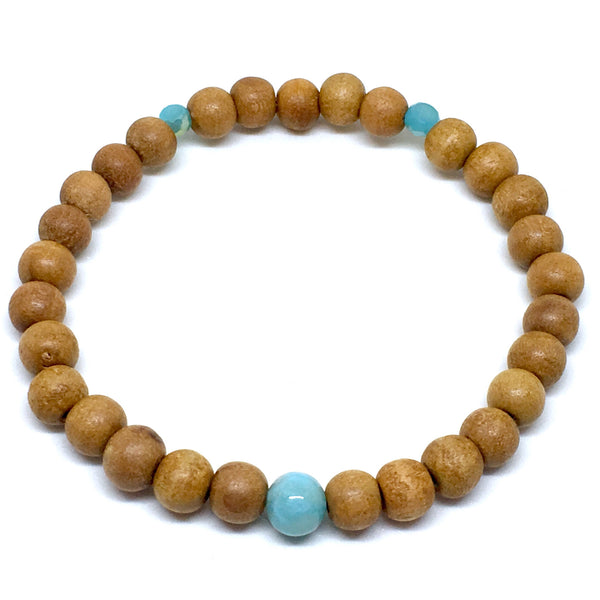 Indian Sandalwood Mala with Rare Dominican Larimar