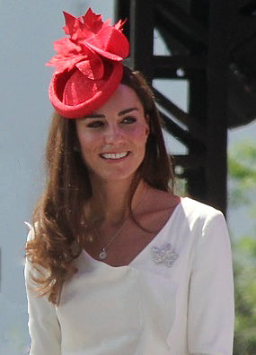 Catherine, Duchess of Cambridge, wearing a red fascinator during her visit to Canada in 2011