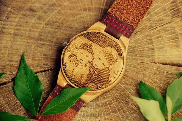 Engraved Photo Back Wooden Watch