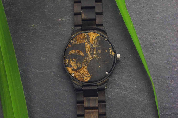 Engraved Photo Back Ebony Watch