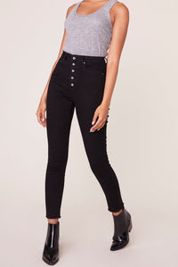 LATE RISER HIGH RISE BLACK JEANS