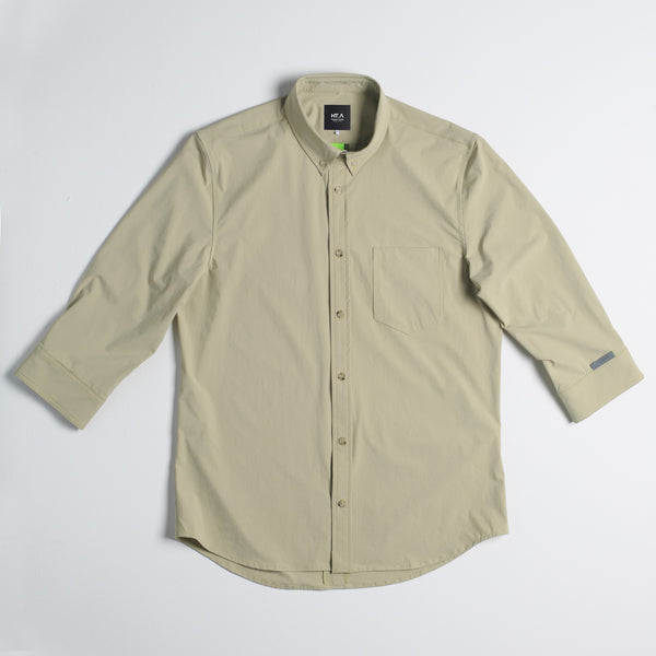 Thelonious Men's 3/4 Stretch Button Down - Khaki