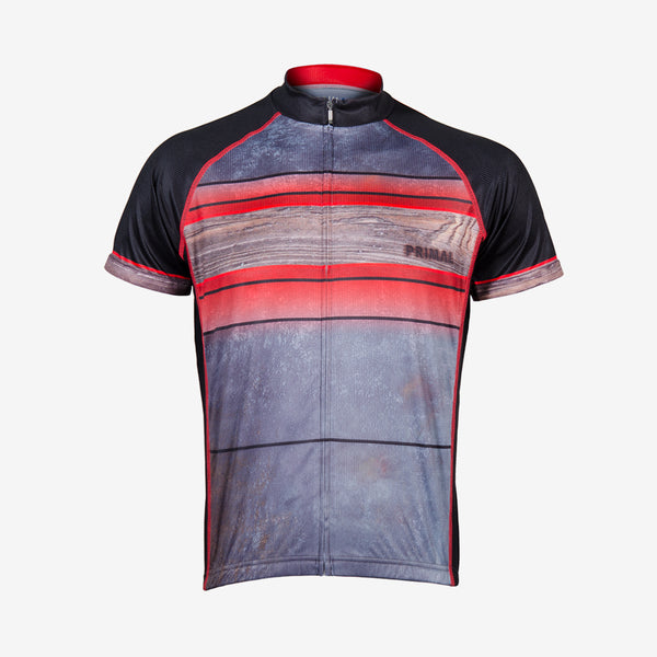 Fired Up Men's Sport Cut Cycling Jersey - Red
