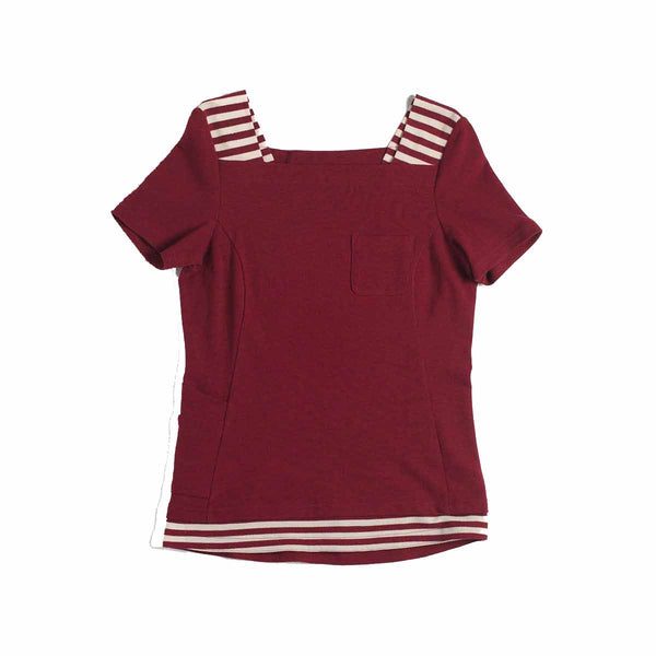Pearl Women's Boat Neck Shirt - Burgundy Red