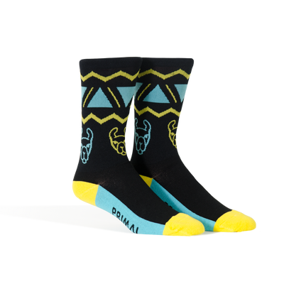 Llama Socks Teal & Yellow - Large Only