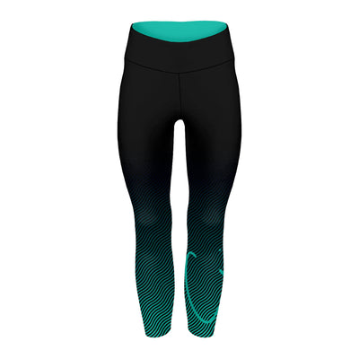 Teal Ripple Full Length Spin Tights