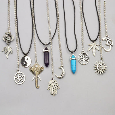 CRYSTAL LINK PENDANT NECKLACES